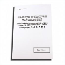 Rejestr wydanych zaświadczeń
